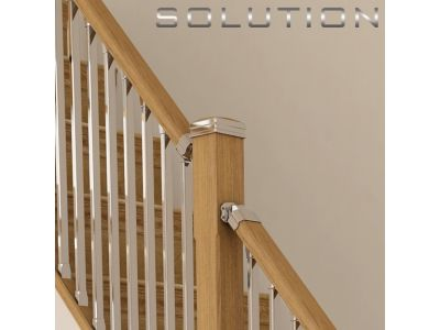 Chrome Stair Spindles rustic wood railing at http://awoodrailing.com