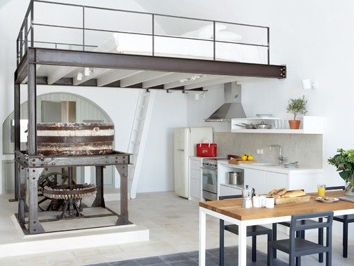 old factory loft style apartment in pyrgos on the greek island of santorini | spaces42