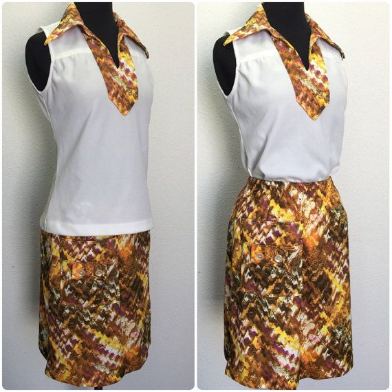 Womens Tennis Outfit Top and Lined Skirt Skort Vintage