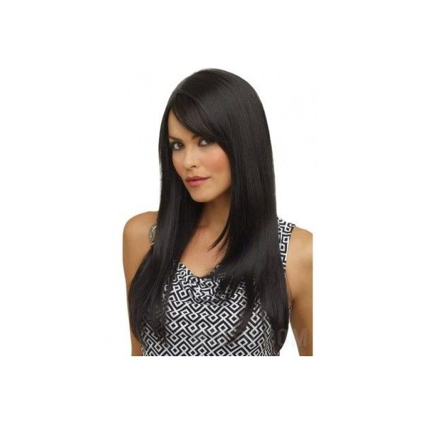Long Straight Side Bang Haircut Synthetic Hair 100% Hand-Tied... ($169) ❤ liked on Polyvore