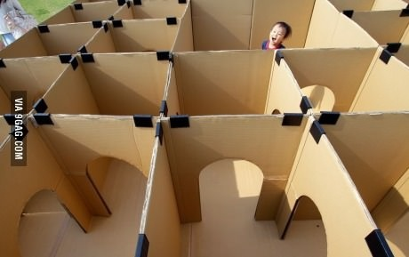 Build a maze from boxes!