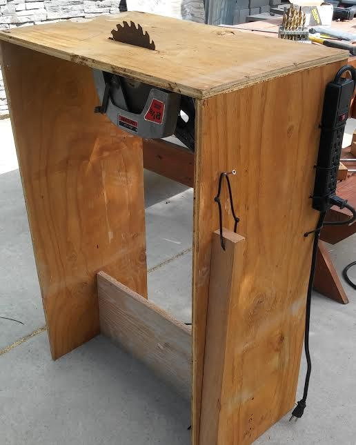 Circular saw turned into a table saw with shut off switch.