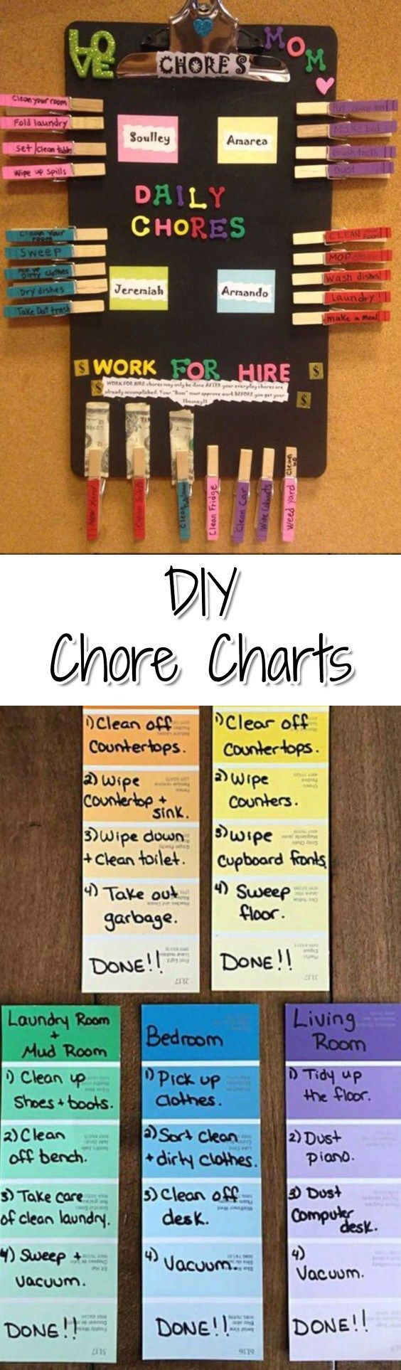 DIY Chore Chart Ideas for kids, teens, for multiple kids and the entire family.  Chore chart ideas with money and more