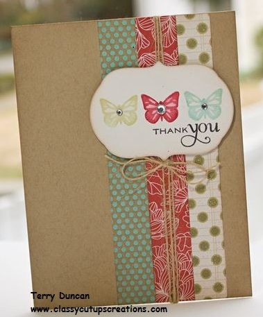 """Happy Monday! Here is today's quick and easy card you can make in 10 minutes or less. First, score and fold a 5-1/2"""" x 8-1/2"""" piece of Crumb Cake Card Stock at 4-1/4"""". Cut 3 strips of coordinating designer series papers to 3/4"""" x 5-1/2"""". (If you use Stampin' Up! Designer Series Paper,"""