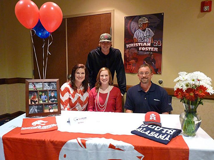 Congratulations to all the signees yesterday on National Signing Day! We also want to congratulate Kristian Foster and her teammates from Pelham High School on committing to South Alabama, Jacksonville State University, University of Alabama in Birmingham, and Auburn University. A big thanks to Leigh Foster for sending us a photo of Kristian in her custom softball banner with her family from that special day.