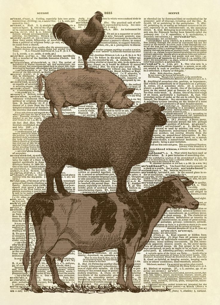 Stacked Farm Animals Dictionary Art Print Animal