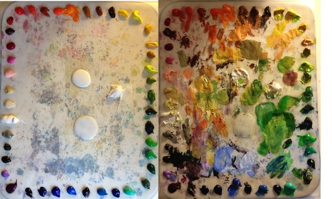 A fresh palette transformed by four hours of work.. my meditation at the easel begins with laying out my palette.