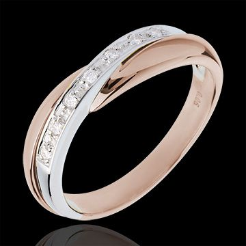 An elegant rose and white gold wedding ring- if this is skiny