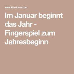 Im Januar beginnt das Jahr - Fingerspiel zum Jahresbeginn