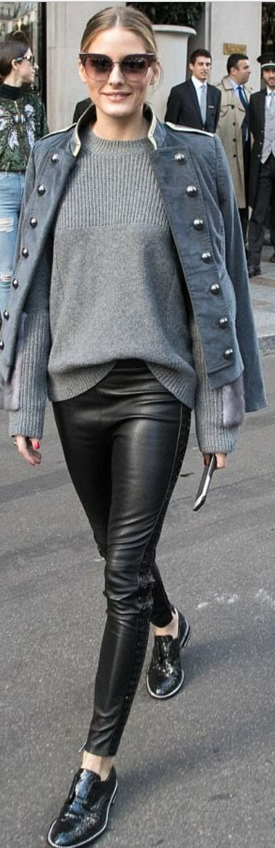 Who made Olivia Palermo's gray coat, ribbed sweater, black sunglasses, and loafers?