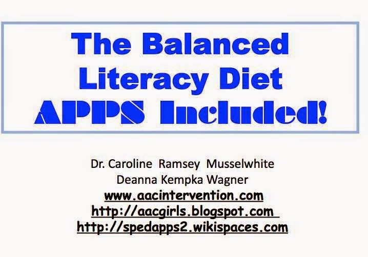 AAC Girls: The Balanced Literacy Diet:  APPS Included!