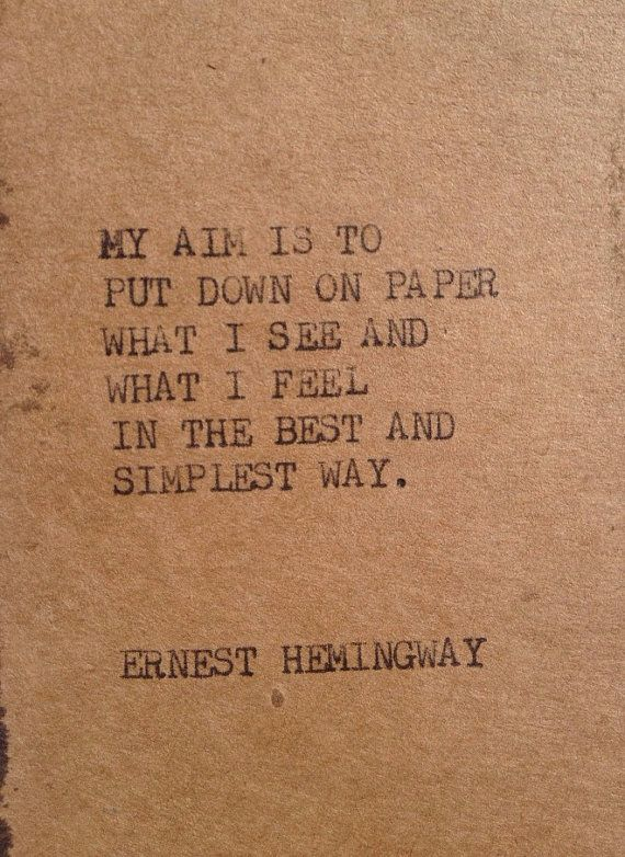 THE HEMINGWAY 2 Typewriter quote on 2.5 x 5 by WritersWire on Etsy, $4.00