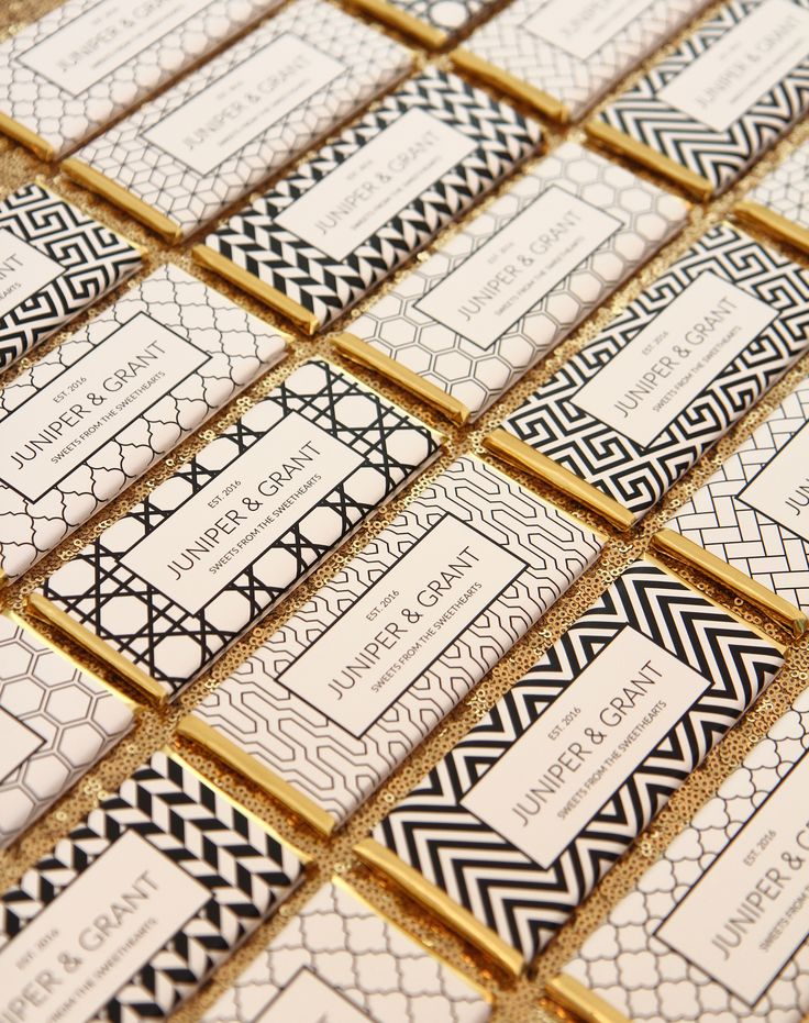 Sweet Paper Shop Personalized Candy Bar Wrappers   Geometric Patterns in Classic Black & White   Choose your words and colors. Printed on shimmer paper. Foils included.