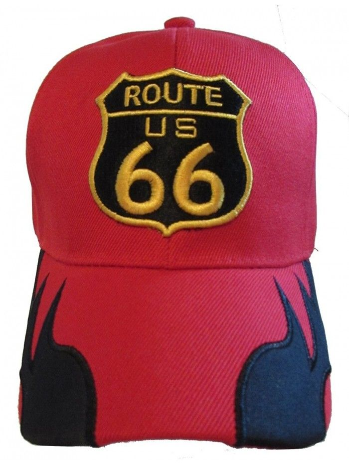 ROUTE 66 WITH FLAMES BASEBALL CAP HAT BLACK