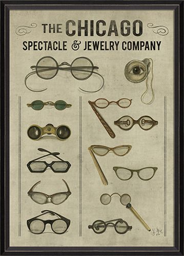The Chicago Spectacle and Jewelry CompanyJewelry Company, Decor Ideas, Chicago Spectacles, Picture-Black Posters, Glasses, Shops, Products, Vintage Art, Company Prints