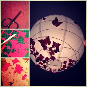 IKEA-Hack - Schmetterlingslampe Butterfly-lamp For a little girl's room (alternate colours, i.e. cut butterflies out of books or old maps, or sheets of music).