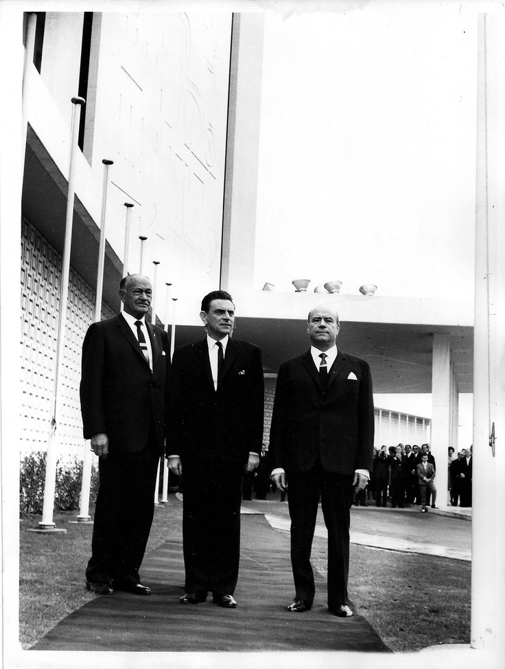 """1963 - Conrad Hilton inaugurates Hilton Athens with the Minister of Coordination Mr Panagiotis Papaligouras and the president of """"Ionian"""" owning company, Mr Stratis Andreadis."""