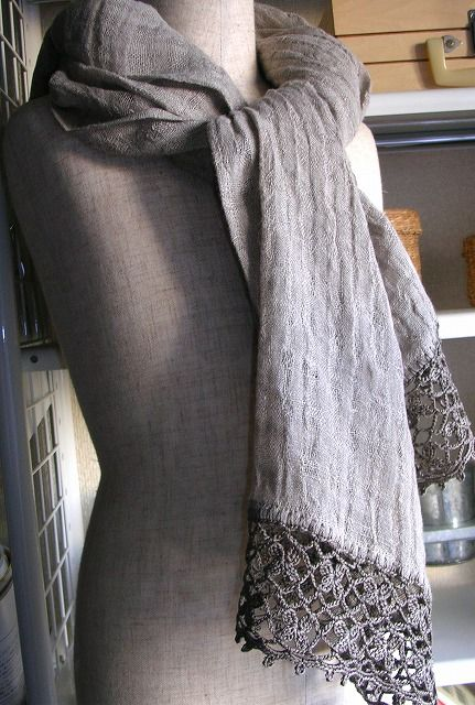 linen gauze scarf with cotton crochet trim