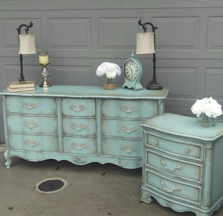 Annie Sloan duck egg blue over old white with dark and black wax aging, sanded edges, metallic rub on hardware #metallicpaintedfurniture