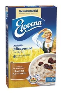 Elovena Herkkuhetki rusina-karamelli Etenkin maitoon tehtynä, nam nam puurohullu kiittää :)!