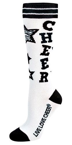 Chassé Knee-Hi Cheer Sock with Retro Stripes and Crazy Stars