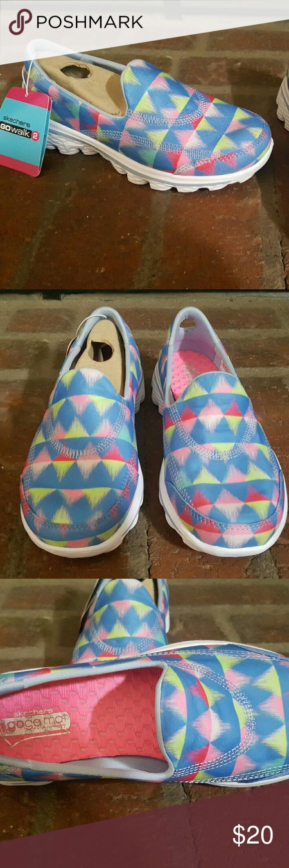 NWT's little girls Skechers Go Walk 2 sz. 13.5 New with tags attached little girls Skechers Go Walk 2 size 13.5. So cute and bright. Skechers Shoes Sneakers