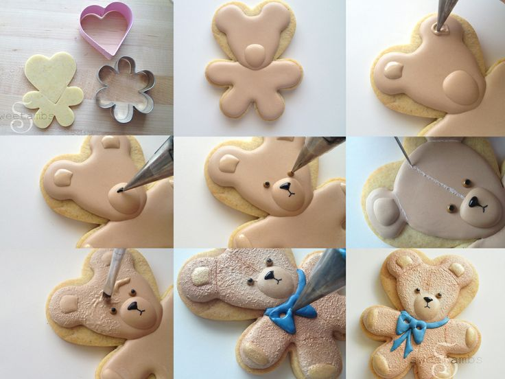 Teddy bear cookie tutorial: https://www.sweetambs.com/tutorial/teddy-bear-cookie-tutorial/