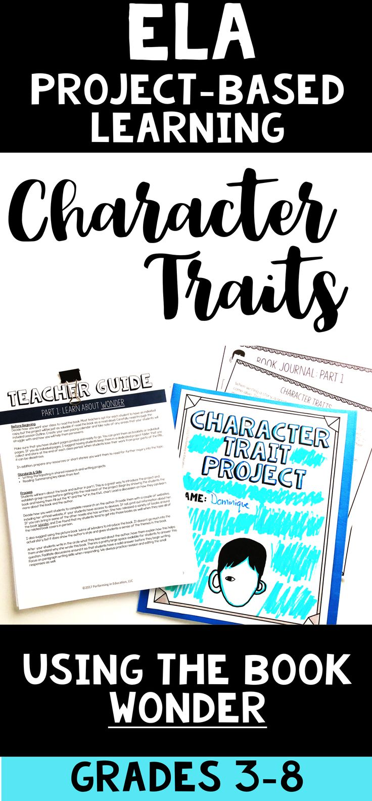 Teach character traits with this awesome project-based learning activity. This PBL uses the book Wonder by R. J. Palacio (as a read aloud - 1 copy - or novel study - multiple copies) to show character traits in real literature. It has all of the elements of project-based learning and includes both print and digital student pages!