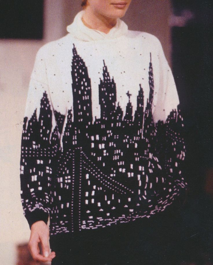 City scape intarsia sweater pattern Marc Jacobs 1990