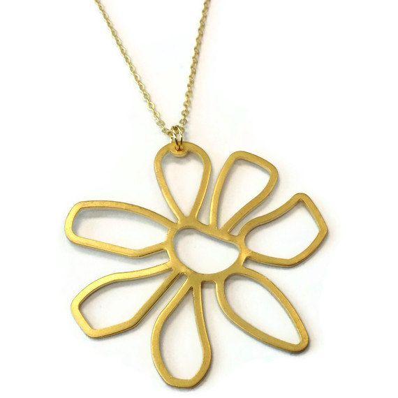 Gold Necklace Flower Pendant Charm Jewellery by jewelrybycarmal, $18.00