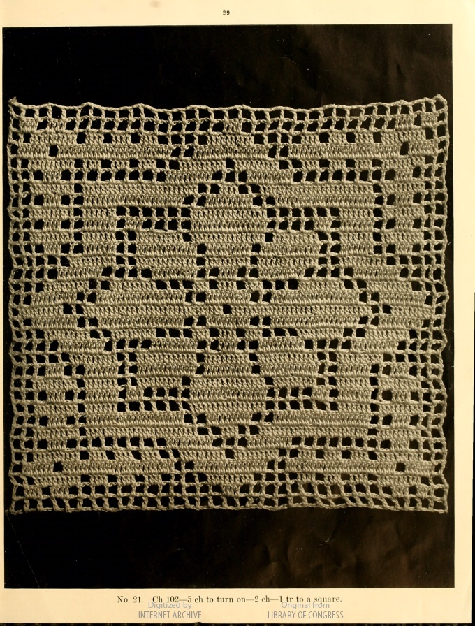 An 8-point star in filet crochet. A Book of Bed-Spreads, by Mrs. Helen (Strawn) King.