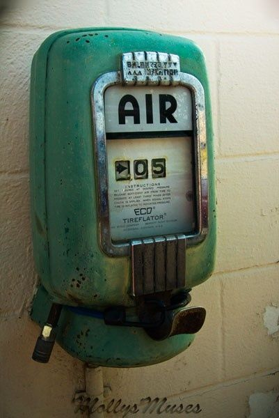 Vintage gas station 1950's TireFlator Tire Air Pressure Machine before the stations charged for air