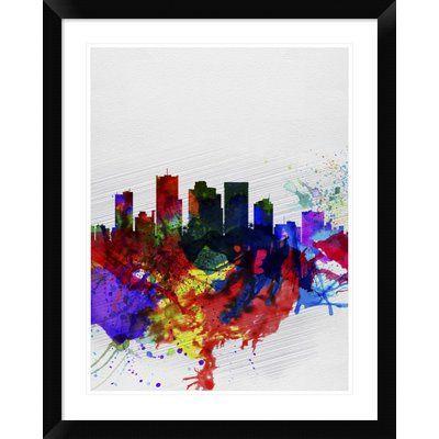 "Naxart 'Phoenix Skyline 2' Framed Watercolor Painting Print Size: 30"" H x 24"" W x 1.5"" D"