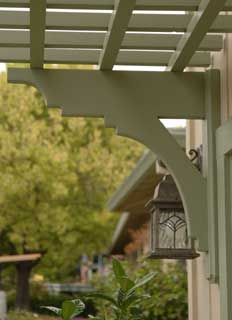 Close up Arbor Brackets, California installation. Love the shape of these brackets. Art deco, but would work on a Prairie or woodland arbor I think.