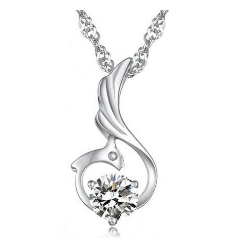 18K White Gold Plated Sterling Silver Fine Fashion Jewelry Brilliant Sparkling Clear Austrian Swarovski Elements Crystal Diamond Cubic Zirconia Phoenix Pendant Necklace: Mother's Day Gift