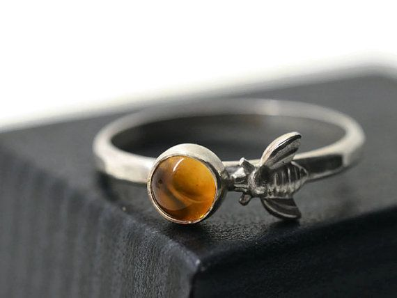 Bee and Honey Ring, Citrine Jewelry, Yellow Gemstone Ring, Silver Bee Jewelry, Nature Inspired Insect Ring