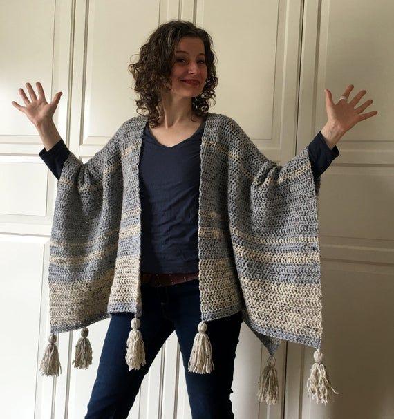 Crochet Wrap Pattern EASY, Crochet Blanket Wrap, Ruana