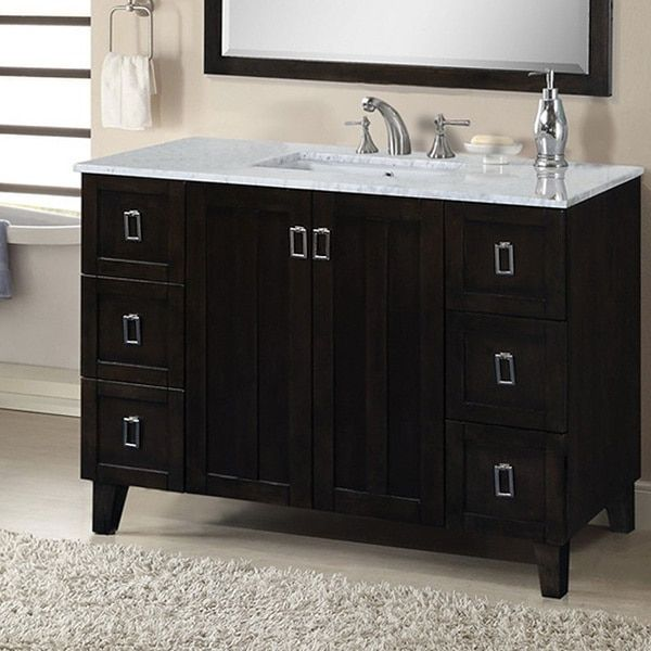 Infurniture Contemporary Style 48-inch Carrara White Marble Top Single Sink Bathroom Vanity in Dark Finish