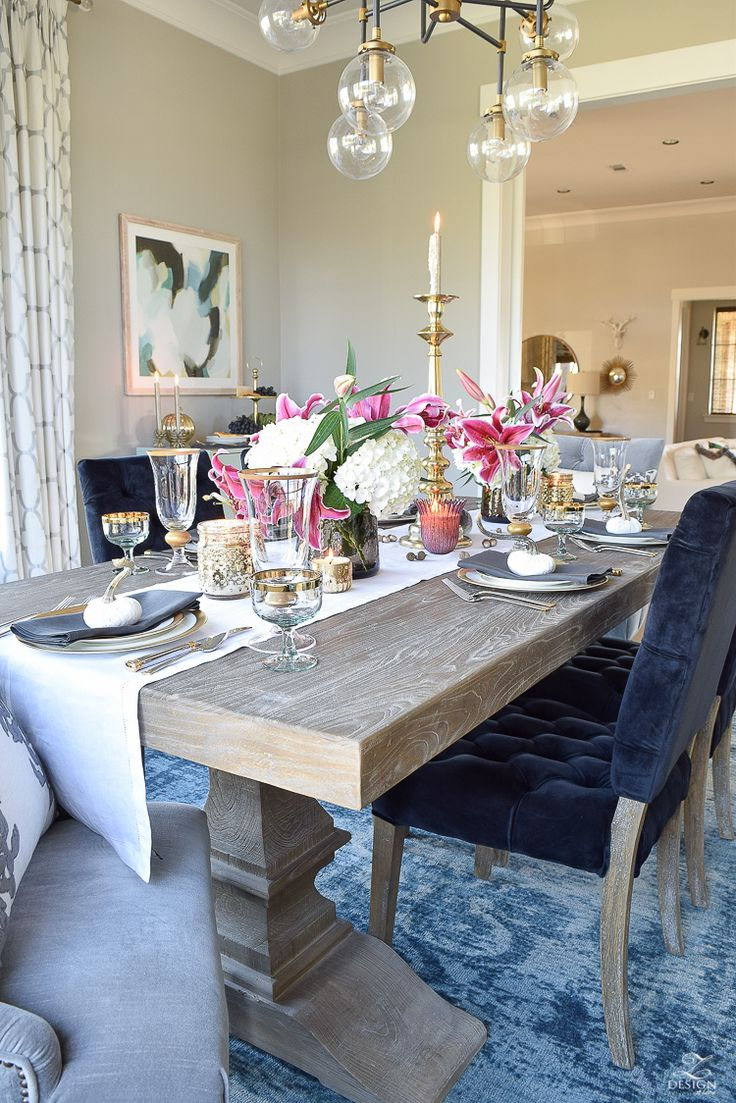 thanksgiving-table-scape-black-velvet-chairs-vintage-inspired-blue-rug-kravet-riad-curtains-gray-washed-dining-table-white-hydrangeas-plum-lillies-6