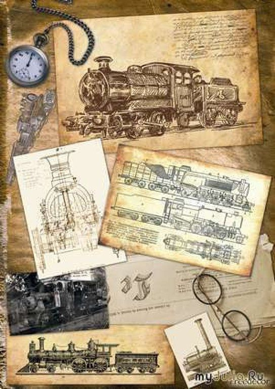 decoupage for men 4 - train paintings ~ katilbalina | decoupage pictures
