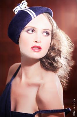 """In the Navy"" beret! Mademoiselle Slassi (Paris)."