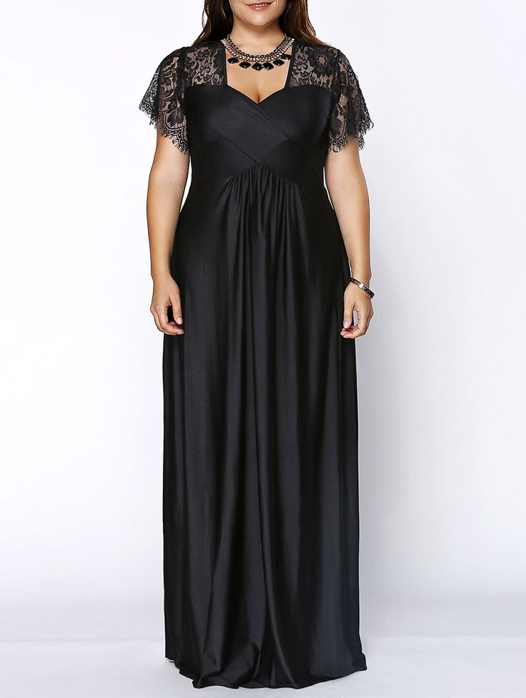 Stylish Plus Size Lace Panelled Sweetheart Neckline Dress For Women