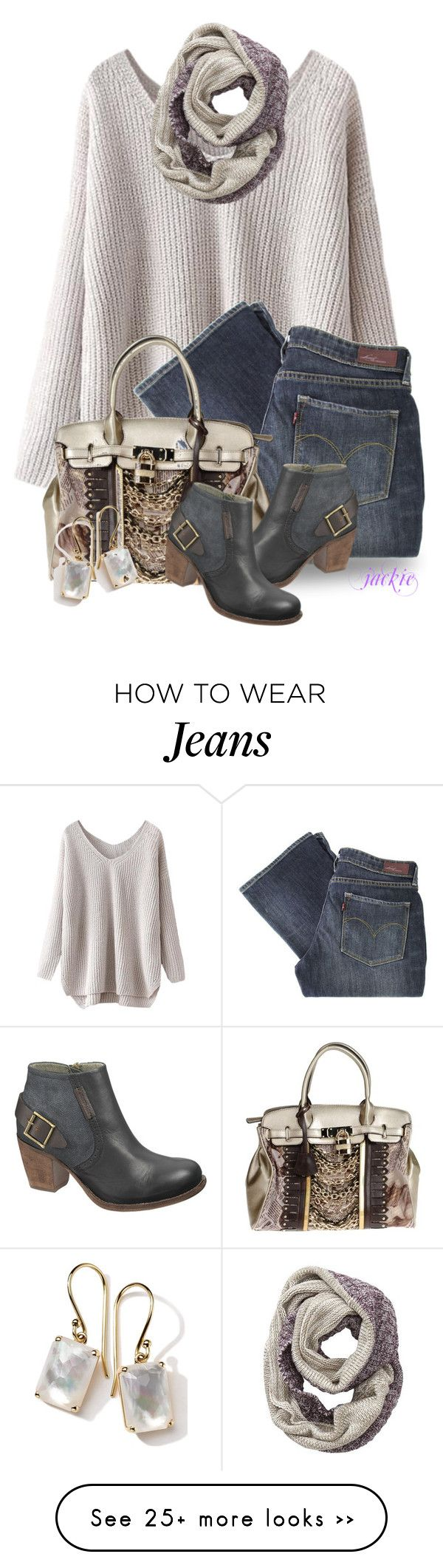 """Buckles on My Boots"" by jackie22 on Polyvore featuring Levi's, You&Me, Athleta, Ippolita, Caterpillar, ankleboots, buckles, Levis, fallstyle and vnecksweater"