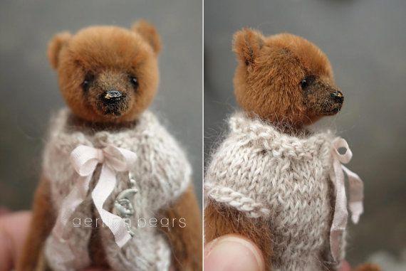 Pippi miniatuur karamel bruin 4 kunstenaar Teddy door aerlinnbears