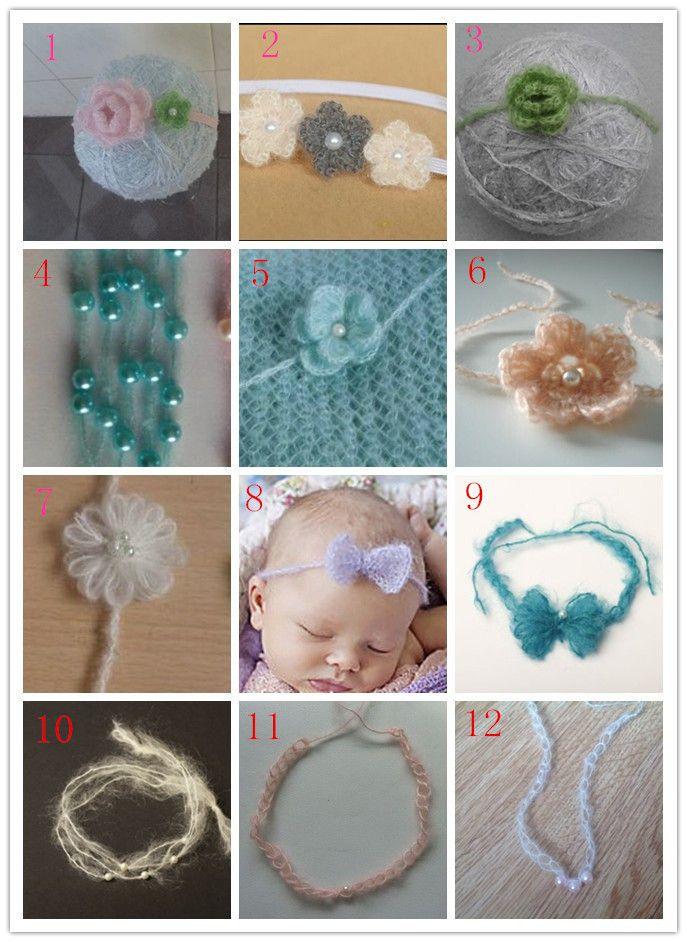 5 шт./лот можно смешивать цвета смешанных продуктов крючком мохер повязка на голову девочка волосы украшения новорожденный фотографии реквизит купить на AliExpress