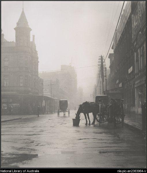Cazneaux, Harold, 1878-1953. Early morning, Pitt Street, Sydney, 1909 [picture]