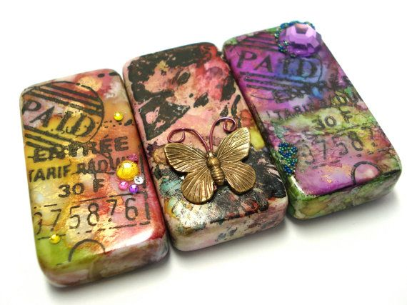 Altered Art Domino Magnets OOAK Set by Loustudio on Etsy, $15.00