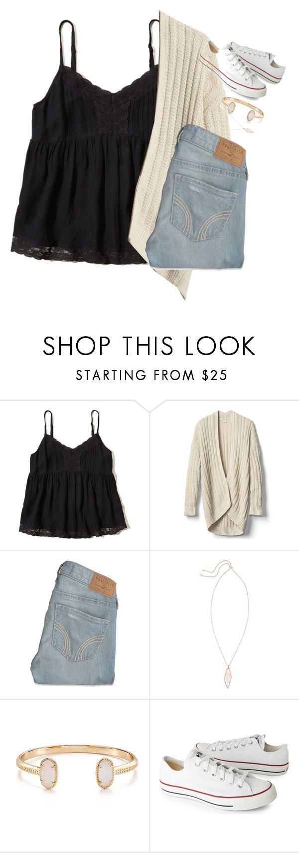"""Untitled #2401"" by laurenatria11 ❤ liked on Polyvore featuring Hollister Co., Gap, Kendra Scott and Converse"