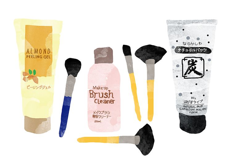 daiso_beauty_charcoal_mask_brush_cleaner_almond_peeling_gel