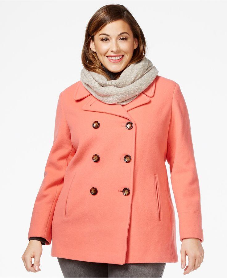 Calvin Klein Plus Wool-Cashmere Blend Peacoat - Coats - Women - Macy's